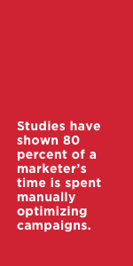 Studies have shown 80 percent of a marketer's time is spent manually optimizing campaigns.