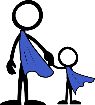 Parenting Now Ad of an adult and child stick figure, both wearing capes.
